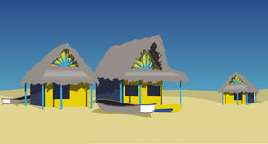 Beach huts. Colorful beach huts on a caribbean beach Royalty Free Stock Photography