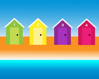 Beach Huts. Four colorful beach huts on a sandy sea shore with blue sky and sea, vector Royalty Free Stock Photo