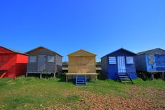Beach Huts. Row of colourful beach huts taken in Whitstable, Kent, South East England Stock Photography