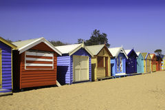 Beach Huts. Colourful famous beach huts found in Melbourne, Australia.  Would make a nice artwork piece for a wall Stock Photography