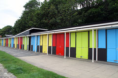 Beach Huts. Multi Coloured in a row Royalty Free Stock Photos
