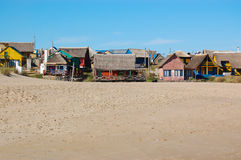 Beach huts. In vacation town.  Uruguay Royalty Free Stock Photo