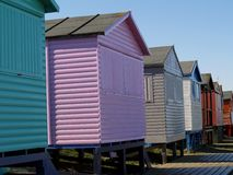 Beach Huts. Colorful beach huts on the English coastline Royalty Free Stock Image