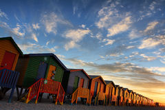 Beach Huts. At the town of Muizenberg near Cape Town South Africa Royalty Free Stock Photos