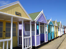 Beach Huts. Row of colorful beach huts on a sunny day Royalty Free Stock Photography