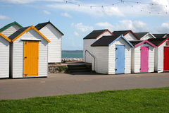 Beach huts. On promenade along seafront Royalty Free Stock Photos