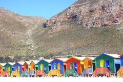 Beach huts. Colourful beach huts cape town stock photo