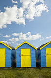 Beach Huts agsinst vibrant blue Summer sky Royalty Free Stock Photos