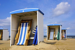 Beach huts along the North Sea Royalty Free Stock Images