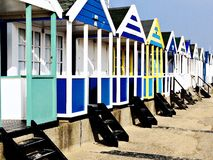 Beach huts along the seafront on a cold winter day Royalty Free Stock Photos