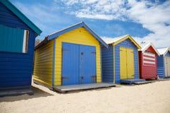 Beach huts on the beach, Australia. Colourful beach huts also bathing boxes at Brighton Beach near Melbourne, Australia Royalty Free Stock Photos