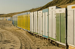 Beach huts on the beach of Zoutelande in the Netherlands Royalty Free Stock Photo