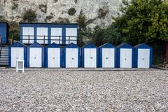 Beach Huts at Beer, Devon. Image of beach huts on the pebbly beach at Beer, Devon, England royalty free stock photos