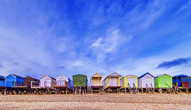 Beach huts with blue sky background. Beach huts with a clear blue sky background stock photos