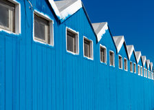 Beach huts on a blue sky. Close up view of beach huts Stock Photography