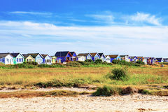 Beach huts with blue sky Stock Photo