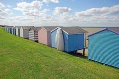 Beach huts and boat Royalty Free Stock Photo