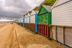 Beach huts in Bournemouth. Beach huts along the promenade in Bournemouth, Dorset, UK Royalty Free Stock Photos