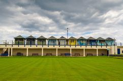 Beach huts. And bowling green at Sutton on Sea in Lincolnshire Royalty Free Stock Photography