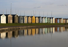 Beach Huts, Brightlingsea, Essex, England. Reflections of Beach Huts at Brightlingsea, Essex, England Royalty Free Stock Photography