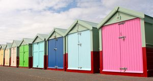 Beach Huts on Brighton seafront Royalty Free Stock Photography