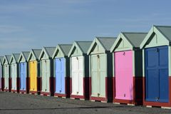 Beach huts on Brighton seafront. England Stock Image