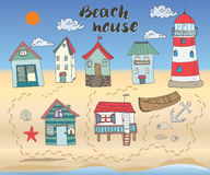 Beach huts and bungalows, hand drawn outline color doodle set with light house wooden boat and anchor, seashells and footsteps on Royalty Free Stock Photos