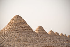 Beach huts or cabanas roof tops, Red Sea, Egypt Stock Image