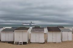 Beach huts at Calais royalty free stock photos