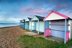 Beach Huts at Calshot Royalty Free Stock Photo