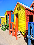 Beach Huts in Cape Town. Colourful wooden huts at the beach. St. James beach, Cape Town very famous for tourist on holiday near the Cape of Good Hope royalty free stock images