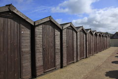 Beach Huts in Charmouth Stock Images