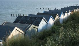 Beach Huts at Clacton-on-Sea, Essex, UK. A row of beach huts at Clacton-on-Sea, Essex, UK Stock Images