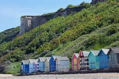 Beach Huts and Cliffs, Overstrand, Cromer, Norfolk, England Stock Images
