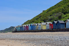 Beach Huts and Cliffs, Overstrand, Cromer, Norfolk, England Royalty Free Stock Image