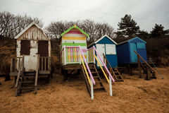 Beach huts on the coast Royalty Free Stock Photo