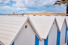 The beach  huts on coast Royalty Free Stock Photography