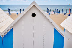 The beach  huts on coast Royalty Free Stock Image