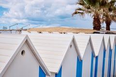 The beach  huts on coast Stock Photography