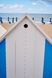 The beach  huts on coast Stock Photo