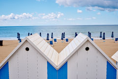 The beach  huts on coast Stock Photo