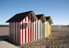 Beach huts. Colored huts on the beach stock photo