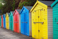 Beach huts or colorful bathing boxes on the beach royalty free stock photo