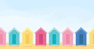 Beach Huts. Colorful beach huts with copyspace stock illustration