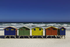 Beach huts. Colour beach huts in Muizenberg beach near Cape Town, South Africa Stock Photos