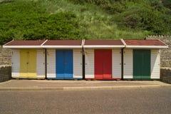 Beach Huts. Colourful beach huts in Britain Stock Photo