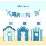 Beach huts. Cute beach huts as retro fabric applique royalty free illustration
