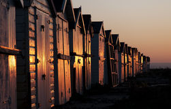 Beach huts at dawn Royalty Free Stock Images