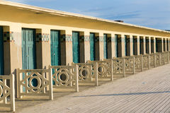 Beach huts in Deauville, France Royalty Free Stock Photography