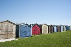 Beach Huts at Dovercourt, near Harwich, Essex, UK. A row of colourful beach huts at Dovercourt, near Harwich, Essex, UK Royalty Free Stock Photo